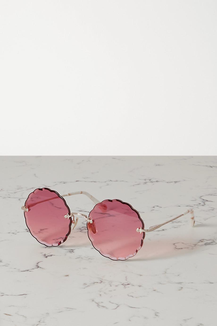 Chloé Goldfarbene Sonnenbrille mit rundem Rahmen und Azetatdetails