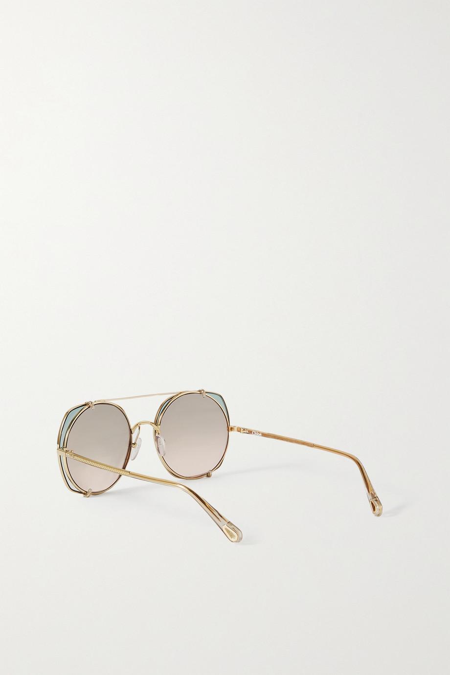 Chloé Goldfarbene Sonnenbrille mit rundem Rahmen