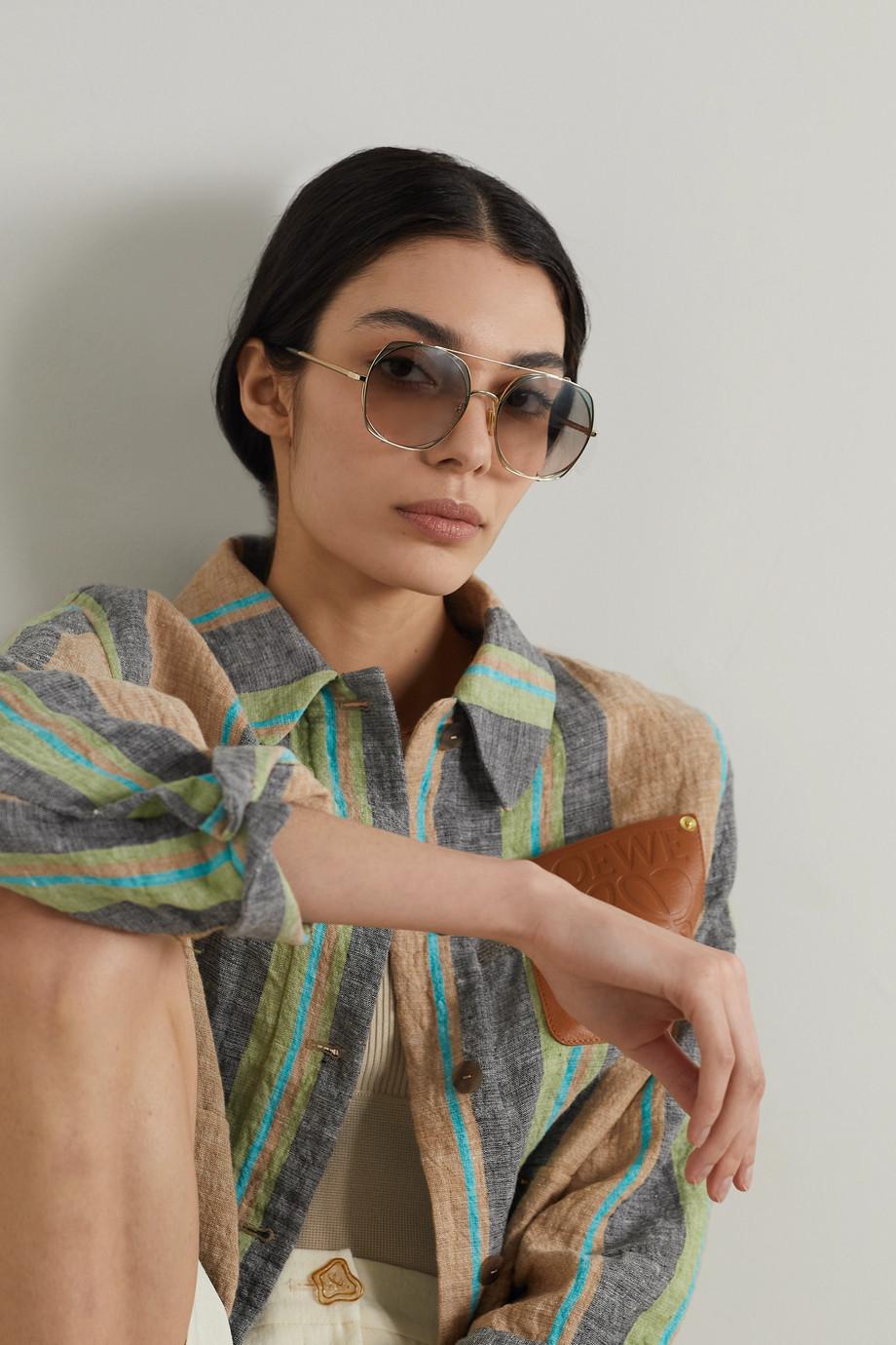 Chloé Round-frame gold-tone sunglasses