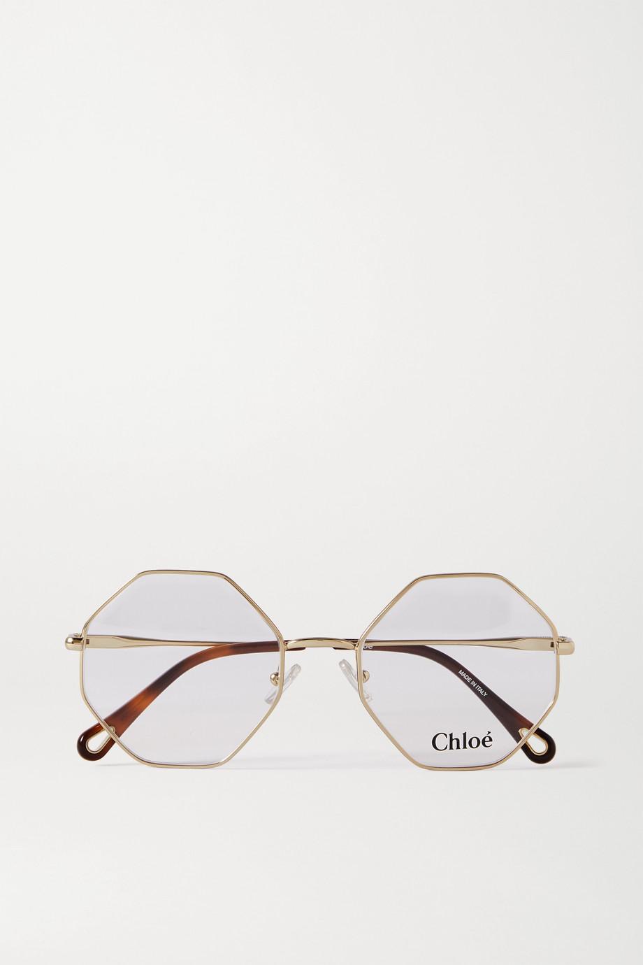 Chloé Octagon-frame gold-tone optical glasses