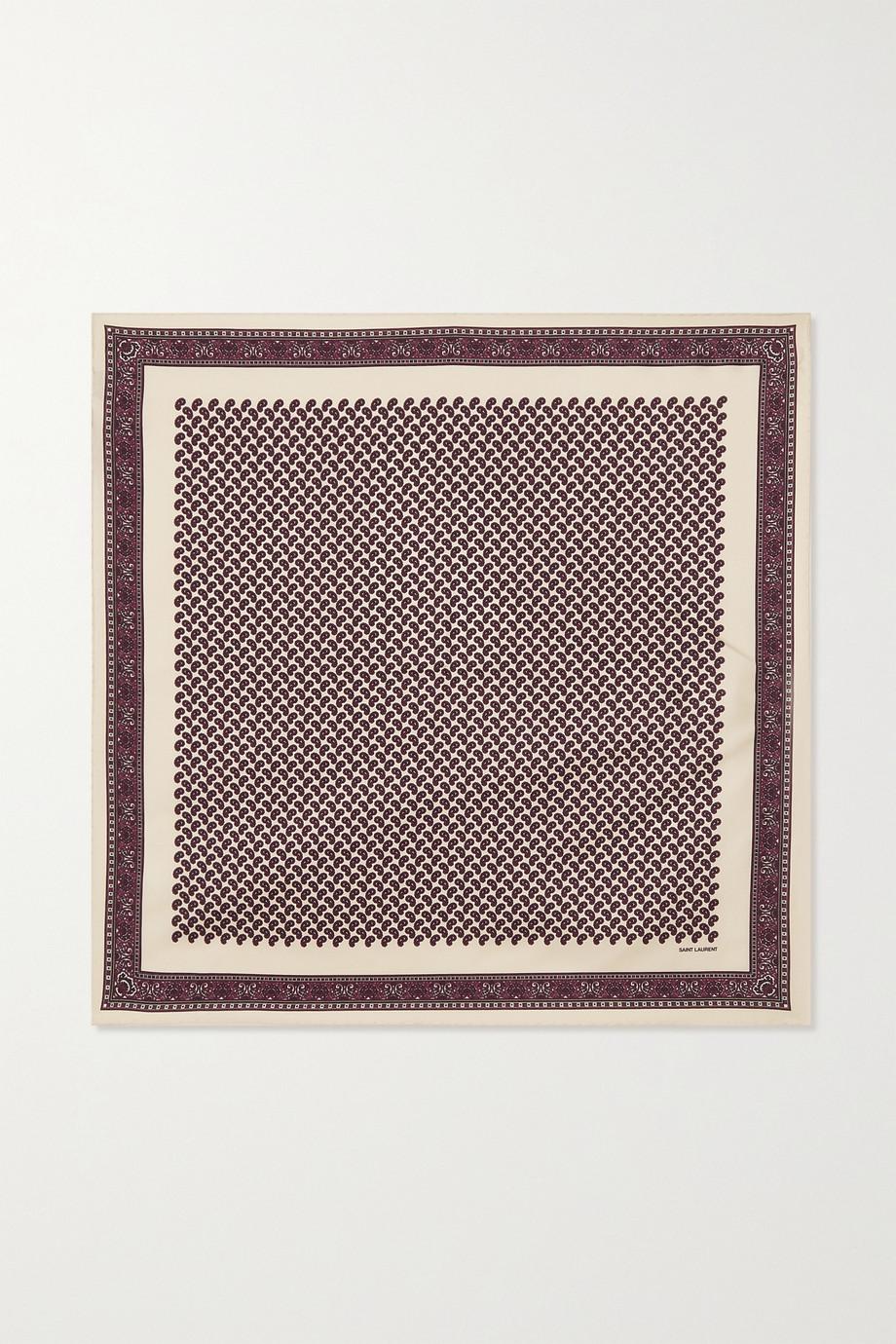 SAINT LAURENT Foulard en serge de soie à imprimé cachemire