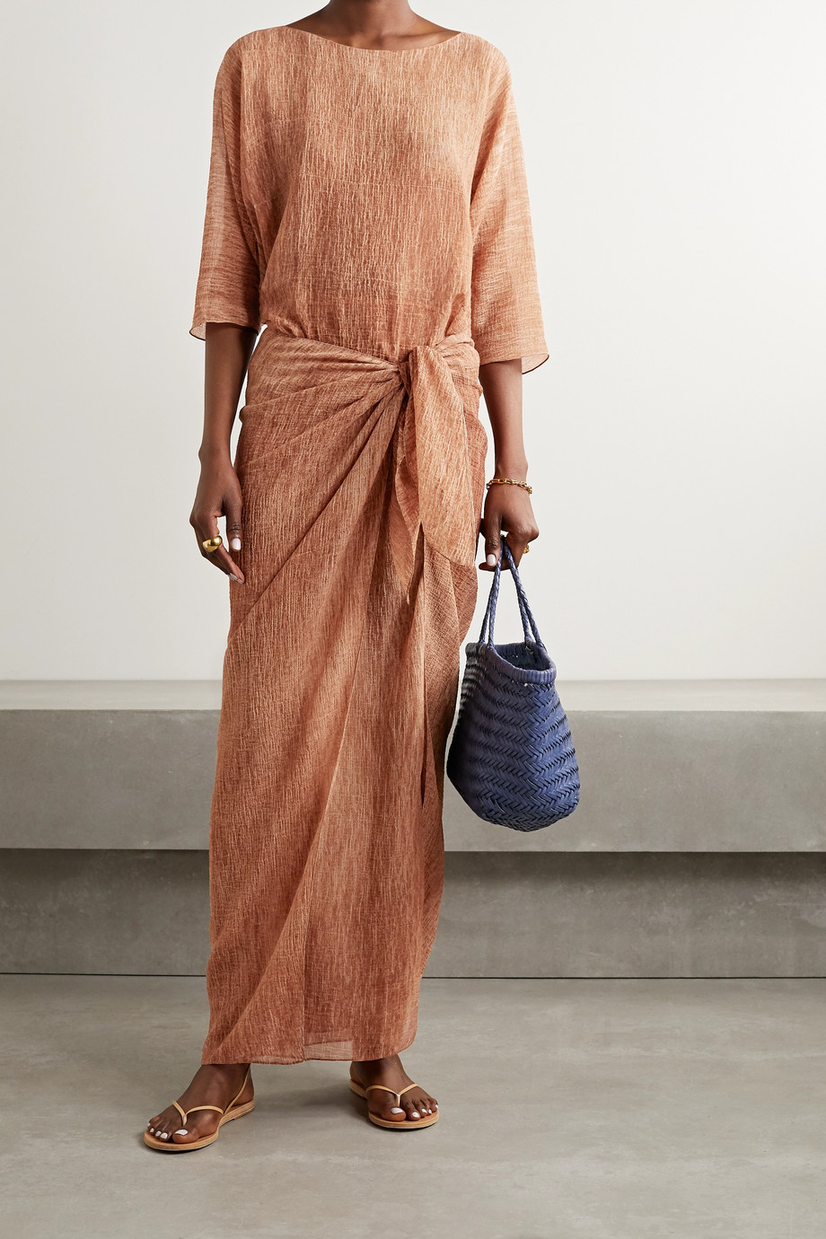 Cortana + NET SUSTAIN Terra draped knotted cotton and silk-blend crepe maxi dress