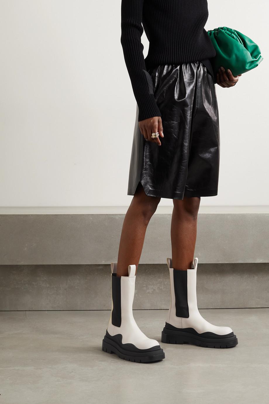 Bottega Veneta Tire rubber-trimmed leather Chelsea boots