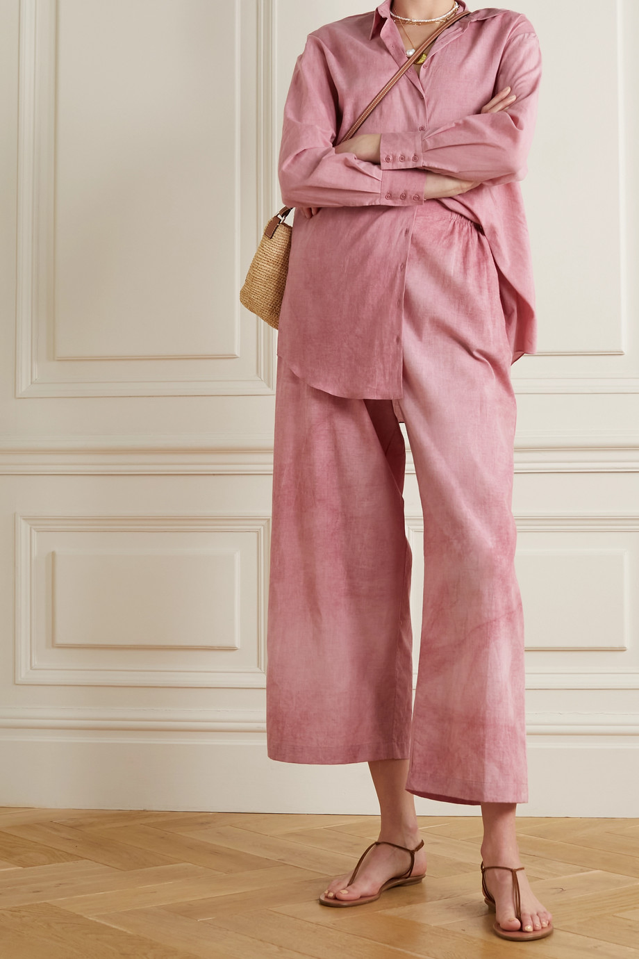 Cortana + NET SUSTAIN Rose cotton wide-leg pants
