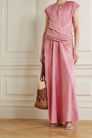 Cortana + NET SUSTAIN Rose knotted convertible cotton maxi dress