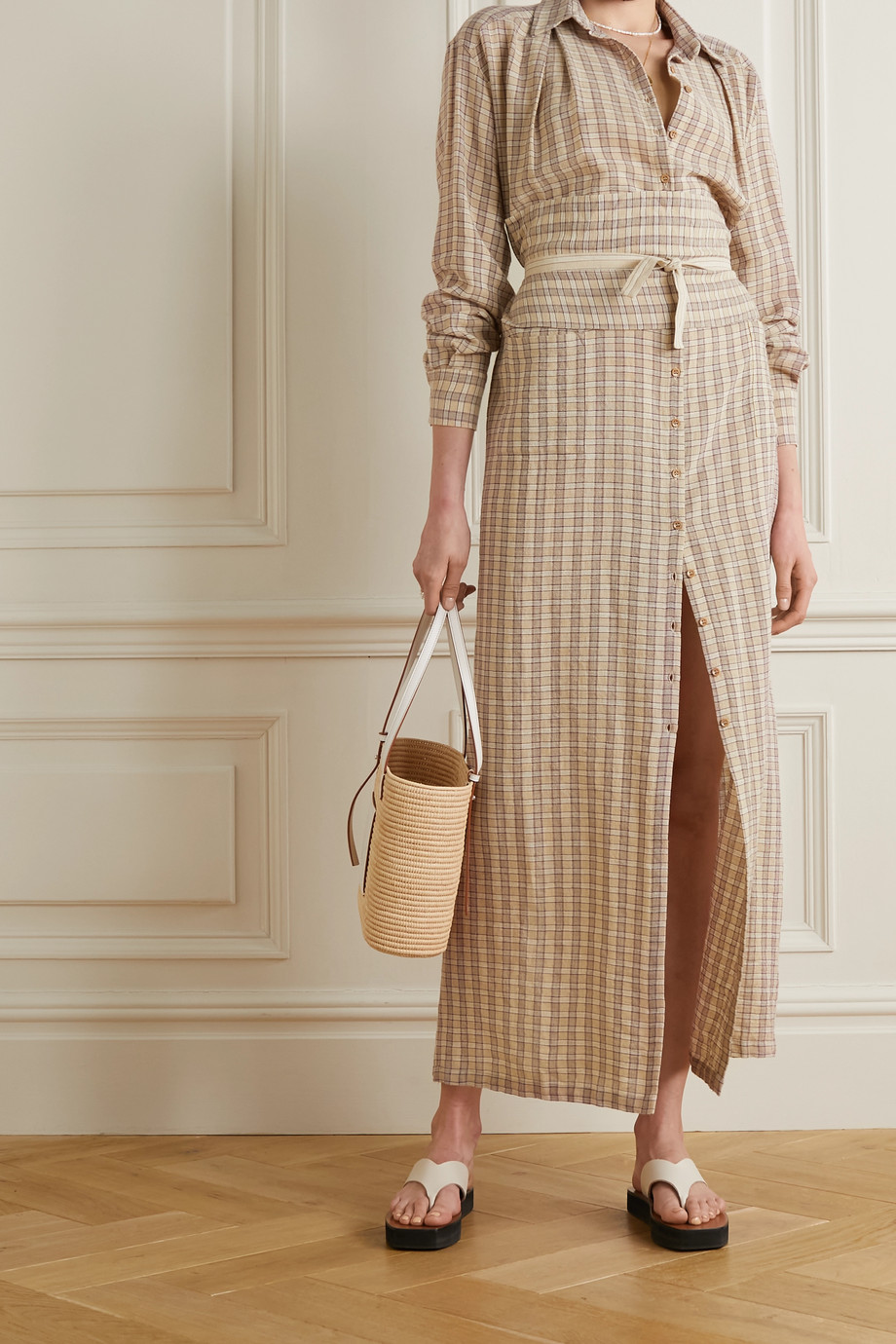 Cortana + NET SUSTAIN Ramon checked cotton-blend maxi shirt dress