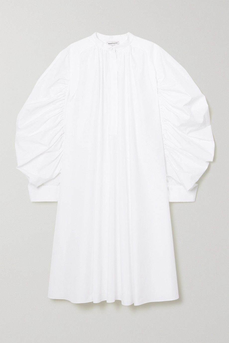Alexander McQueen Ruched cotton-poplin shirt dress