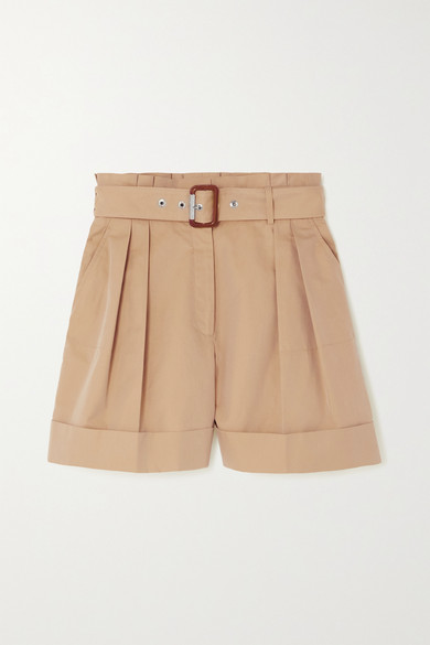 Alexander Mcqueen BELTED PLEATED COTTON-TWILL SHORTS