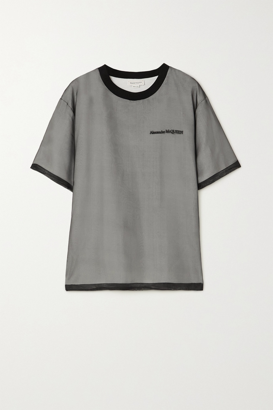 Alexander McQueen Layered embroidered silk-mesh and cotton-jersey T-shirt