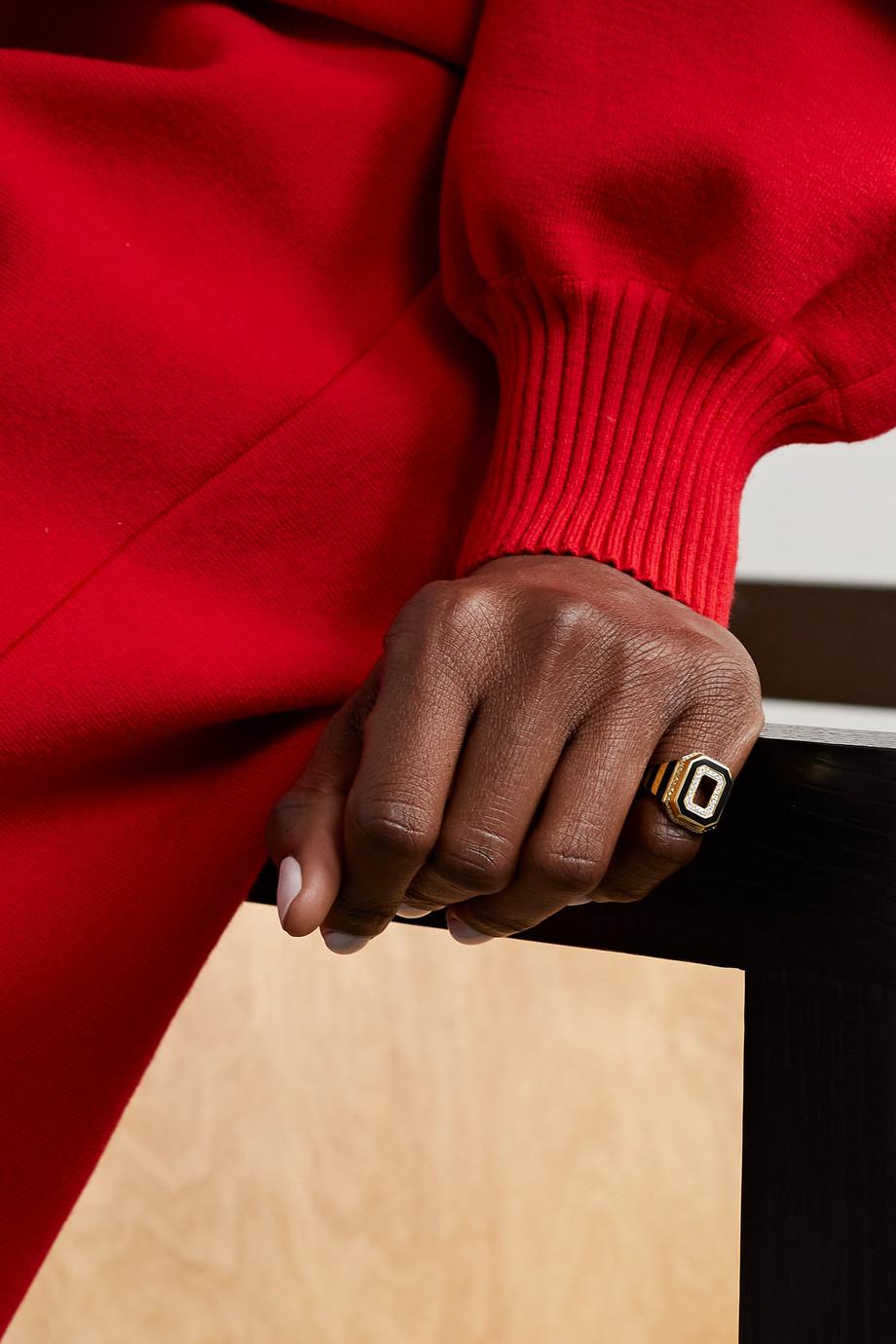 State Property Azar 18-karat gold, enamel and diamond signet ring