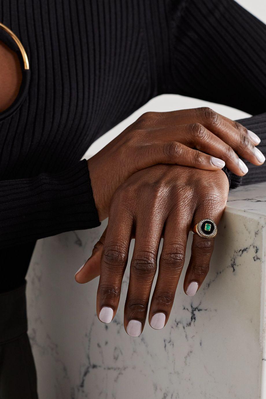 State Property Aebi 18-karat gold multi-stone signet ring