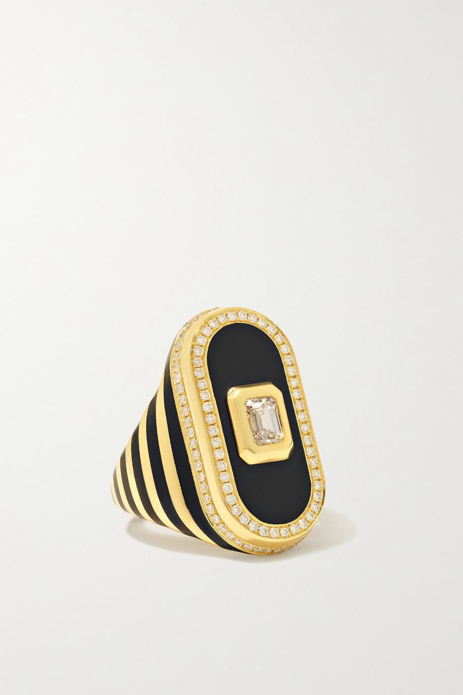 State Property Battuta 18-karat gold, diamond and enamel ring