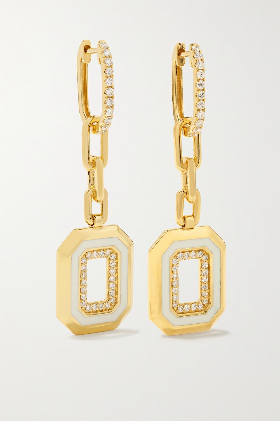 State Property Azar 18-karat gold, enamel and diamond earrings