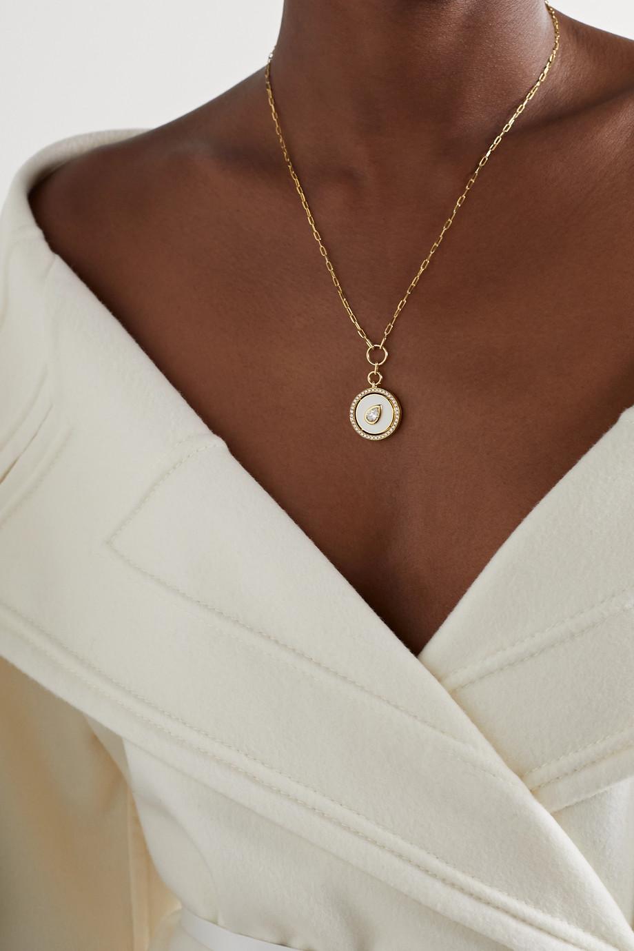 State Property Collier en or 18 carats, émail et diamants Aebi