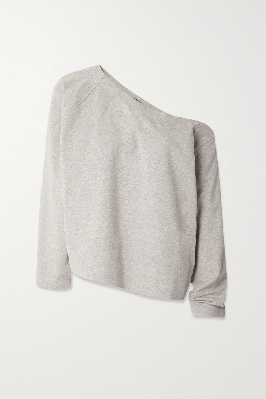 Norma Kamali One-shoulder mélange stretch cotton-jersey sweatshirt