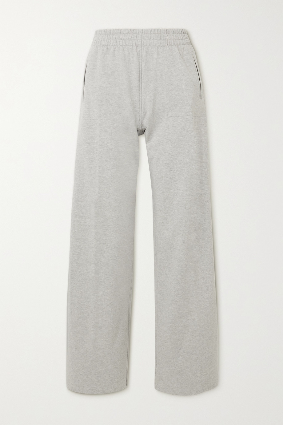 Norma Kamali Metallic striped stretch-cotton jersey track pants