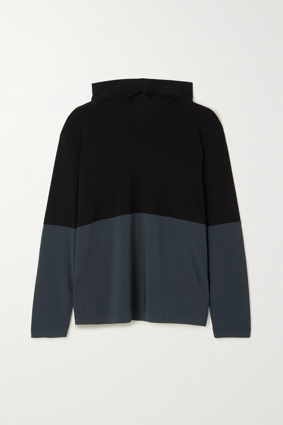 Norma Kamali Two-tone stretch-jersey hoodie