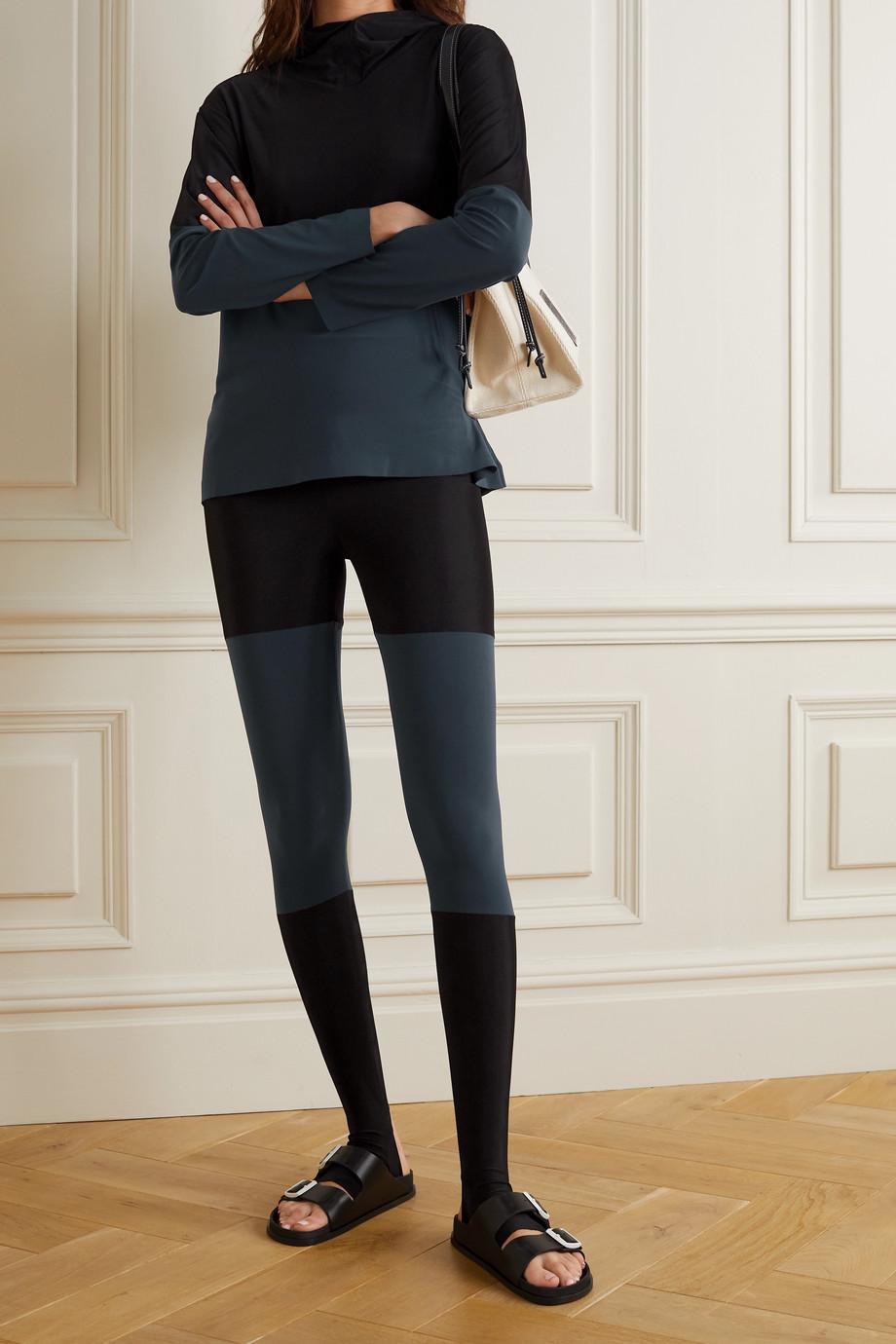 Norma Kamali Two-tone stretch-jersey stirrup leggings