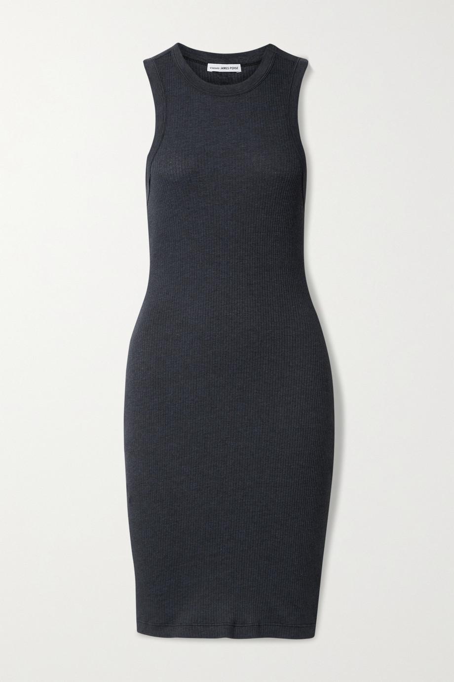 James Perse Ribbed cotton-blend jersey mini dress