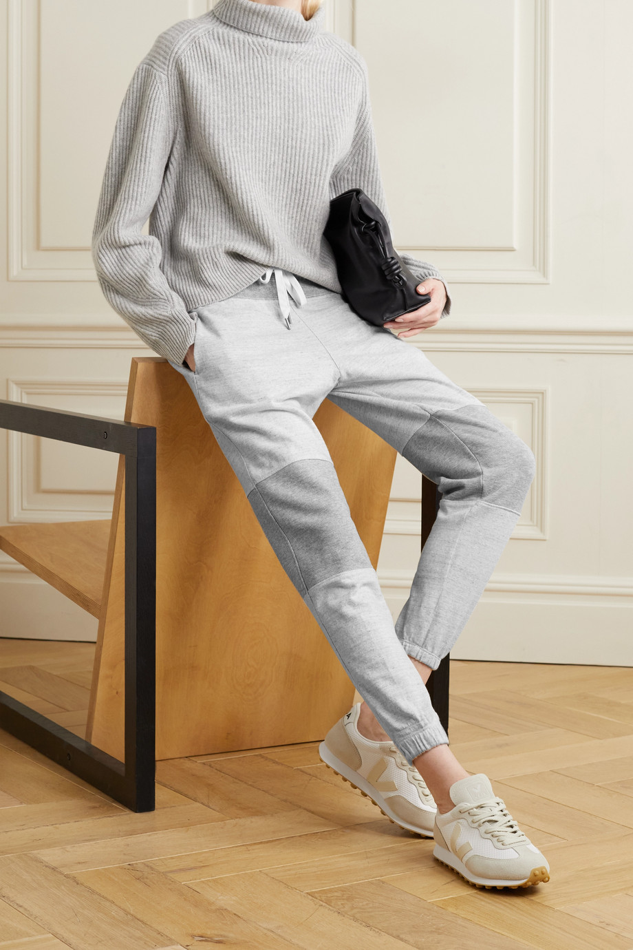 James Perse Paneled mélange cotton-jersey track pants