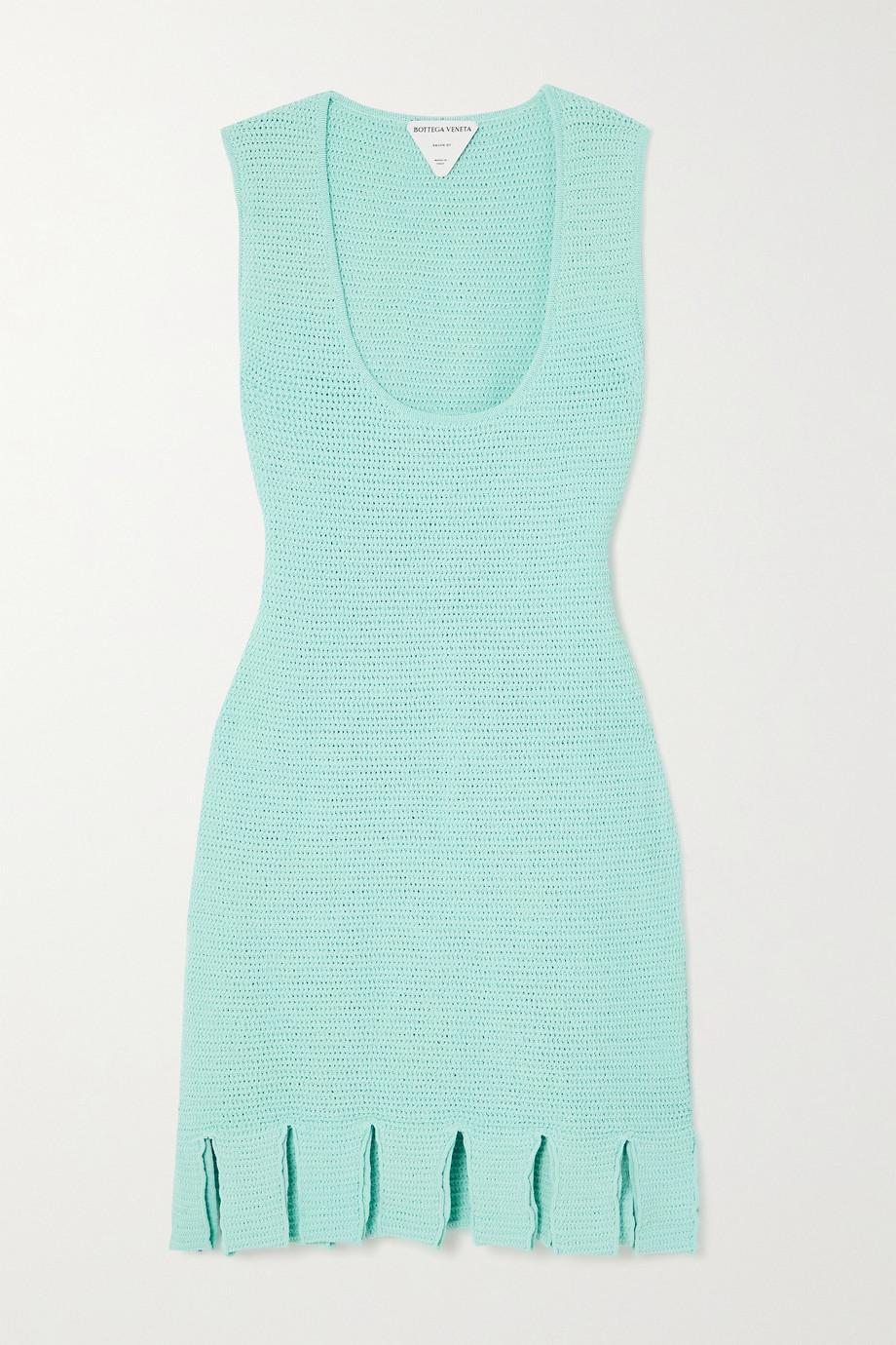 Bottega Veneta Open-knit cotton-blend mini dress