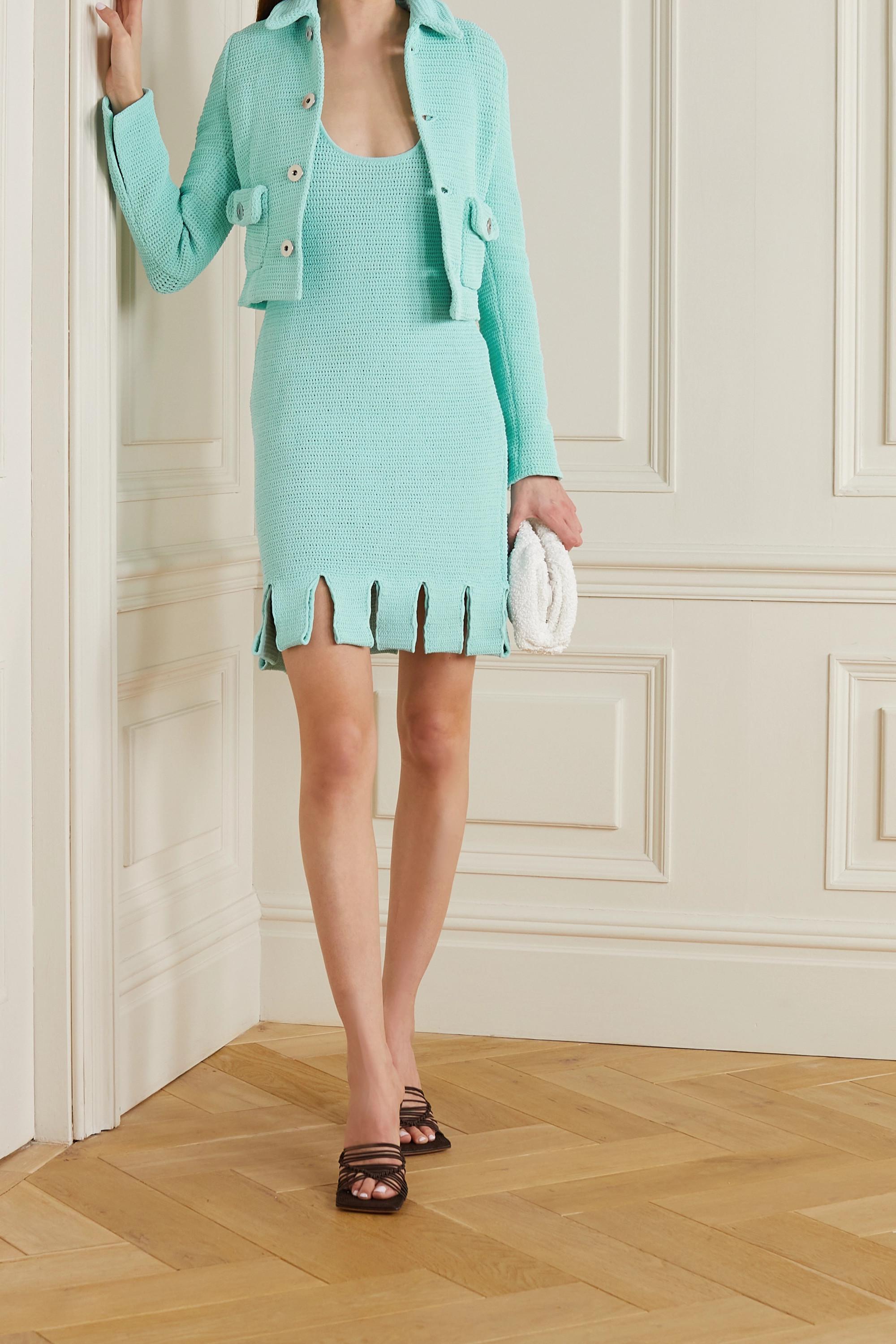 Bottega Veneta Minikleid aus Lochstrick aus einer Baumwollmischung