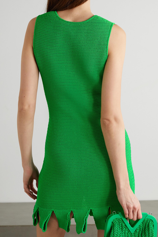 Bottega Veneta Mini-robe en coton mélangé à mailles ajourées