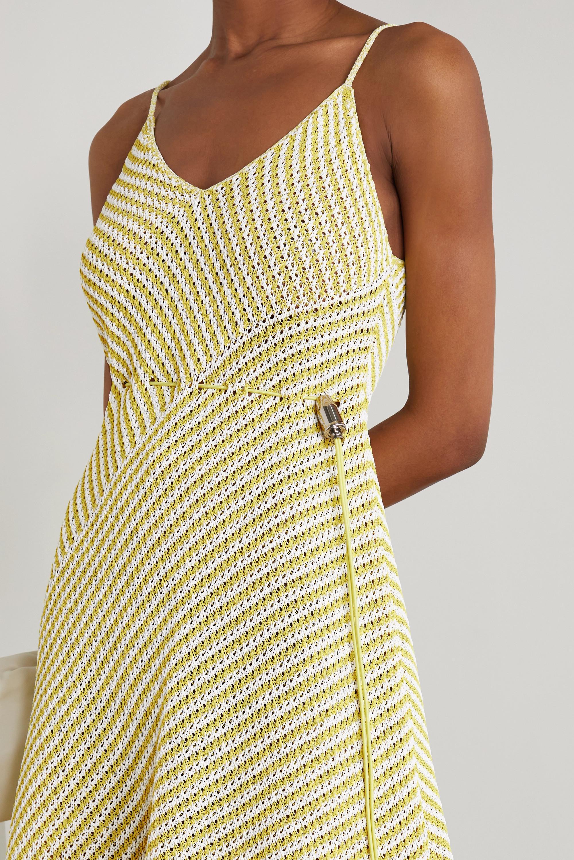 Bottega Veneta Striped open-knit cotton-blend maxi dress
