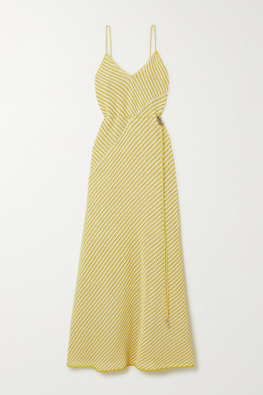 Bottega Veneta Gestreiftes Maxikleid aus einer Baumwollmischung in Lochstrick
