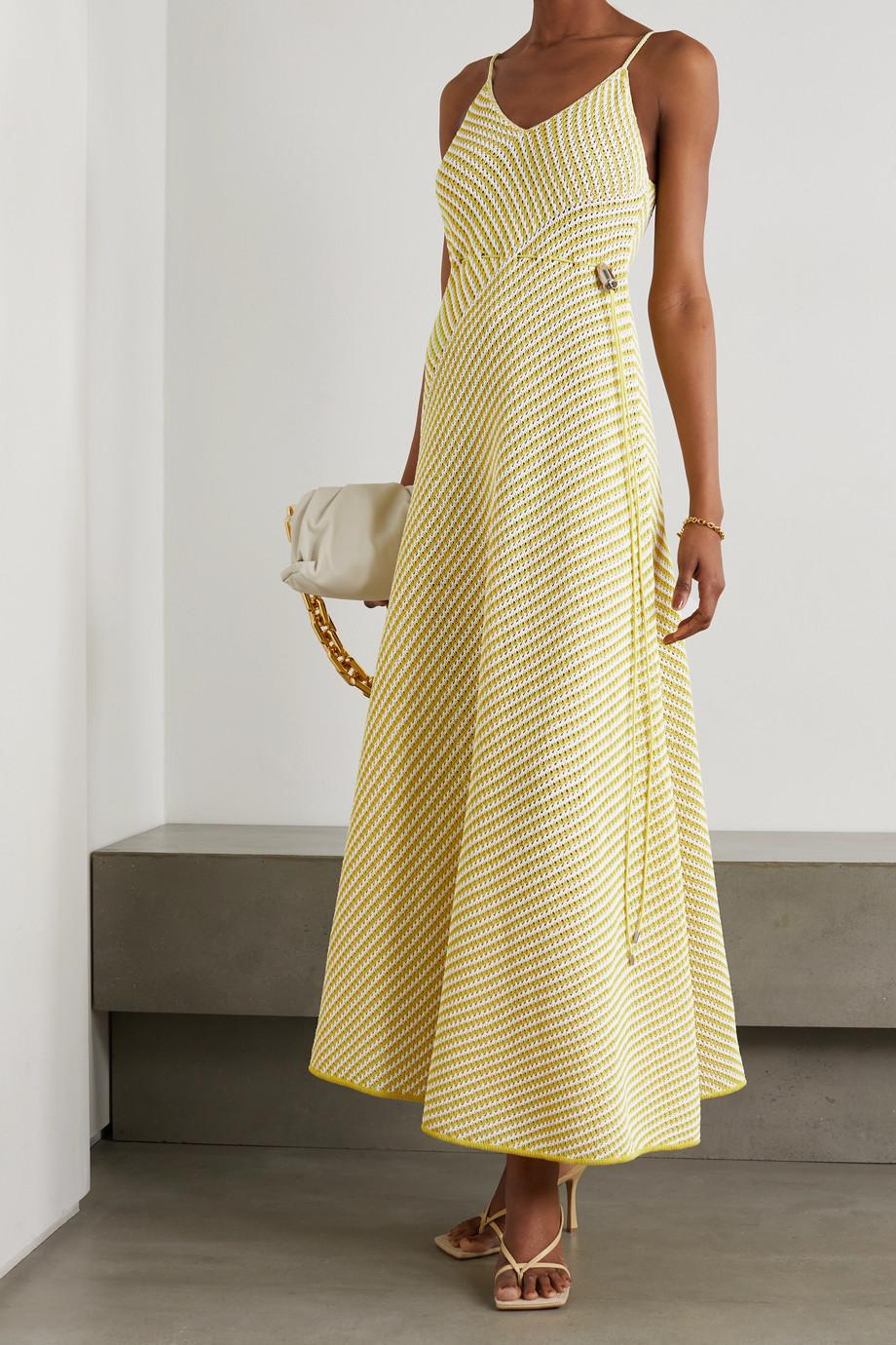 Bottega Veneta Robe longue en coton mélangé à mailles ajourées et à rayures