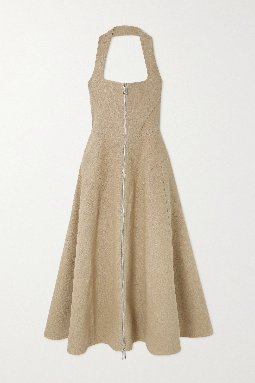 Bottega Veneta Linen-blend canvas halterneck midi dress