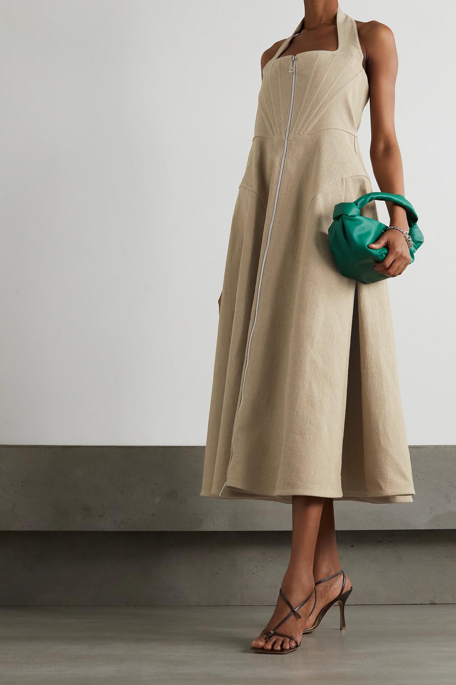 Bottega Veneta Neckholder-Midikleid aus einer Leinen-Canvas-Mischung