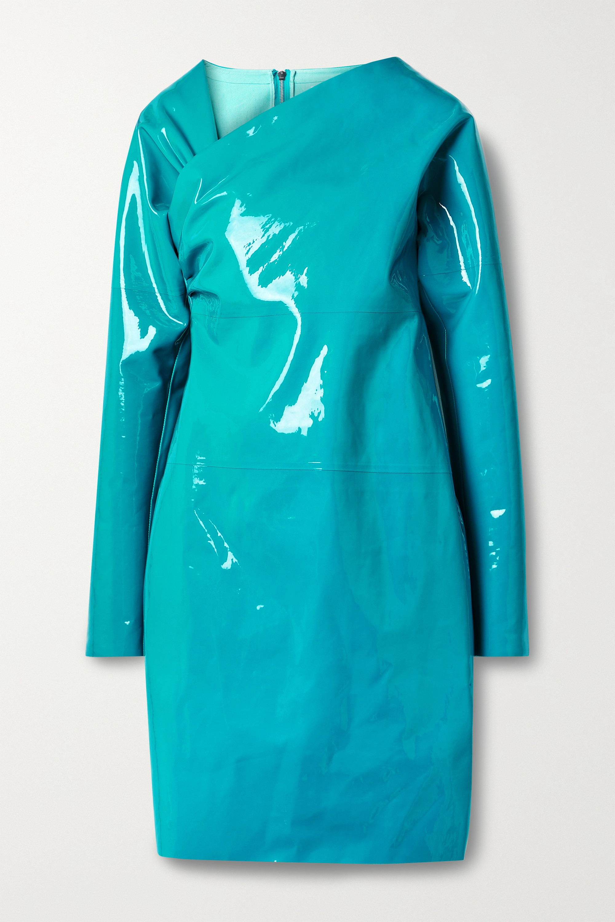 Bottega Veneta Asymmetric patent-leather mini dress