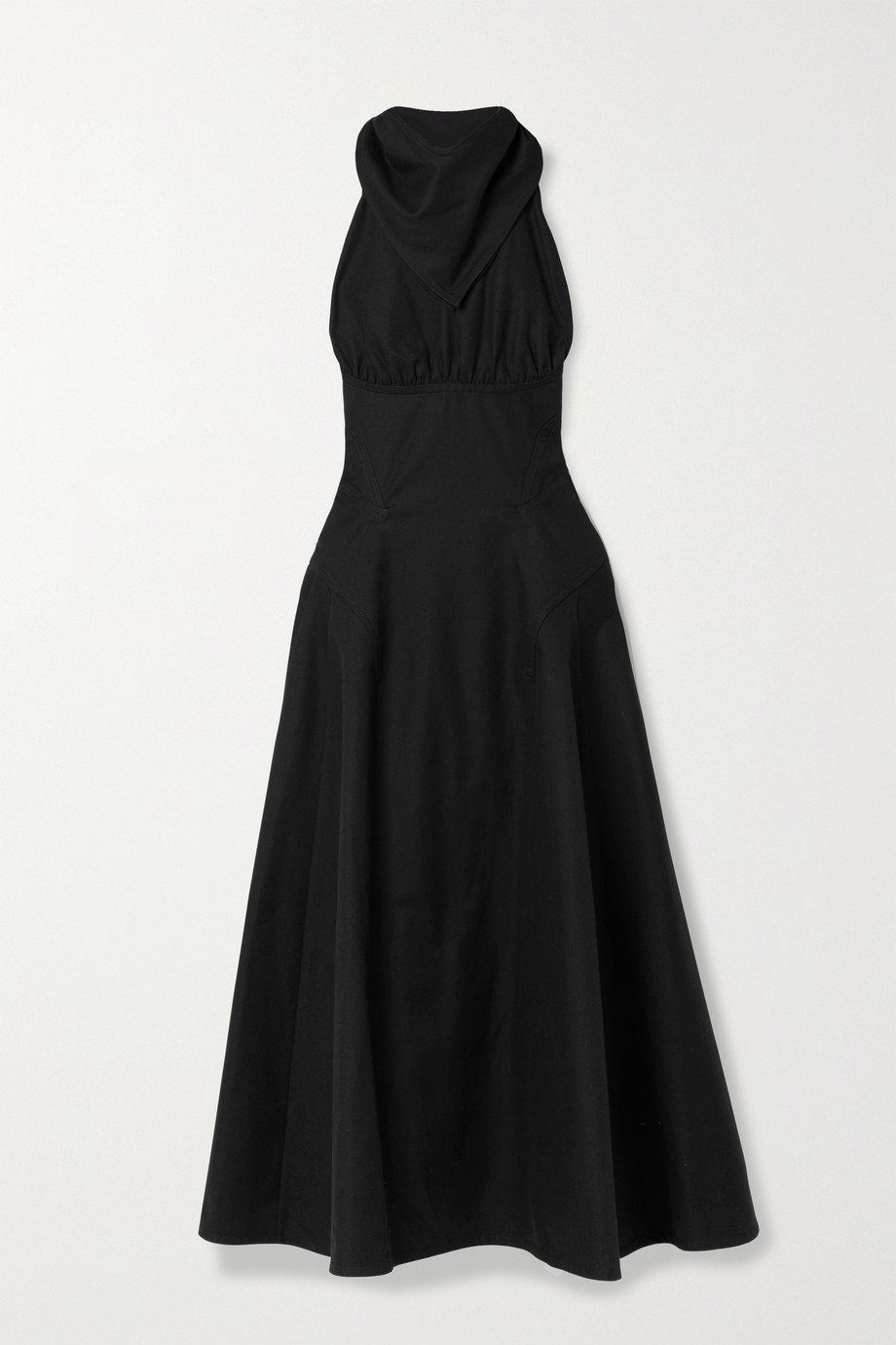 Bottega Veneta Open-back gathered cotton-twill halterneck gown