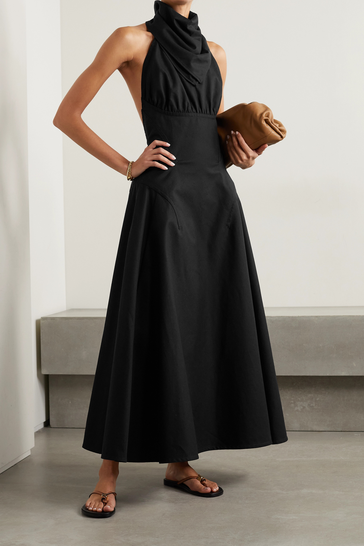 Bottega Veneta Rückenfreie Neckholder-Robe aus Baumwoll-Twill mit Raffungen