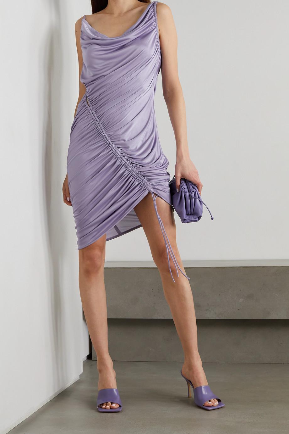 Bottega Veneta Asymmetrisches Minikleid aus glänzendem Jersey mit Raffungen