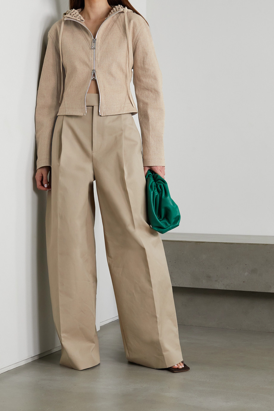 Bottega Veneta Cropped hooded linen-blend jacket