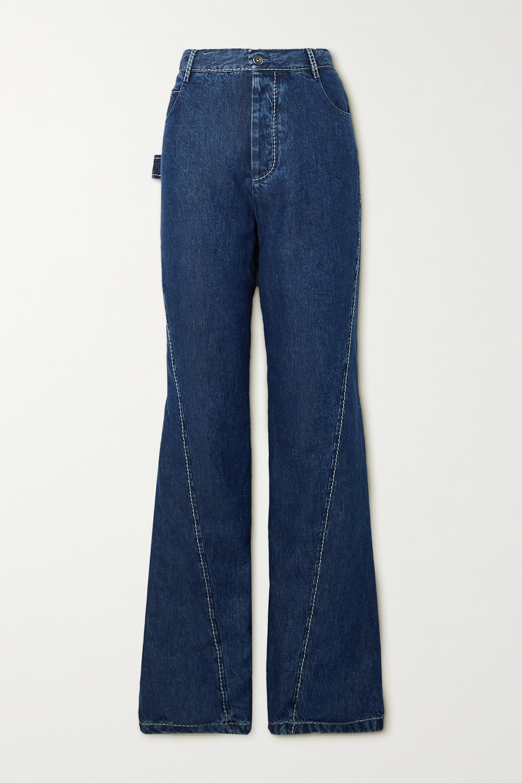 Bottega Veneta - Paneled high-rise flared Lyocell-denim jeans