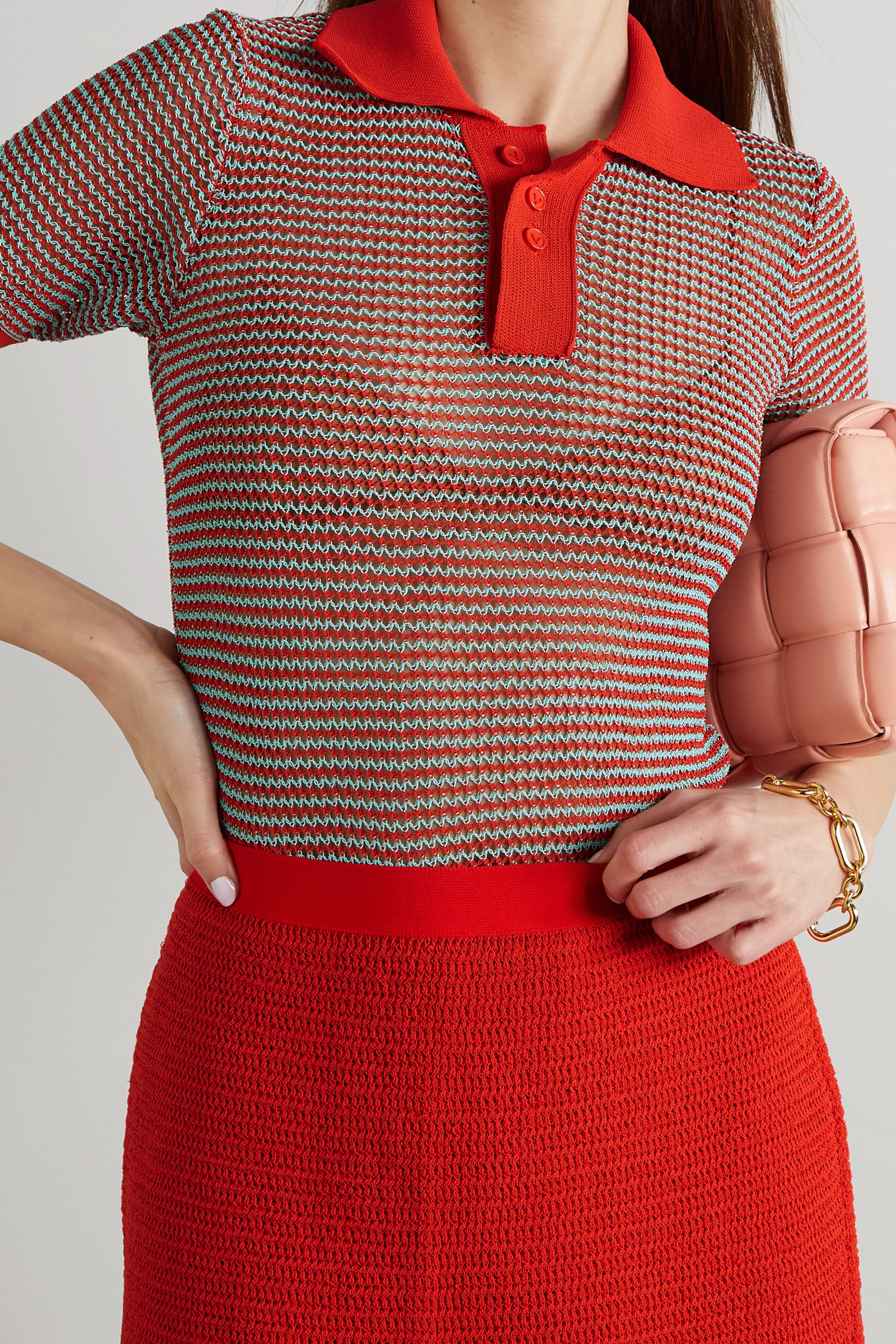 Bottega Veneta Polo en coton mélangé à mailles ajourées et à rayures