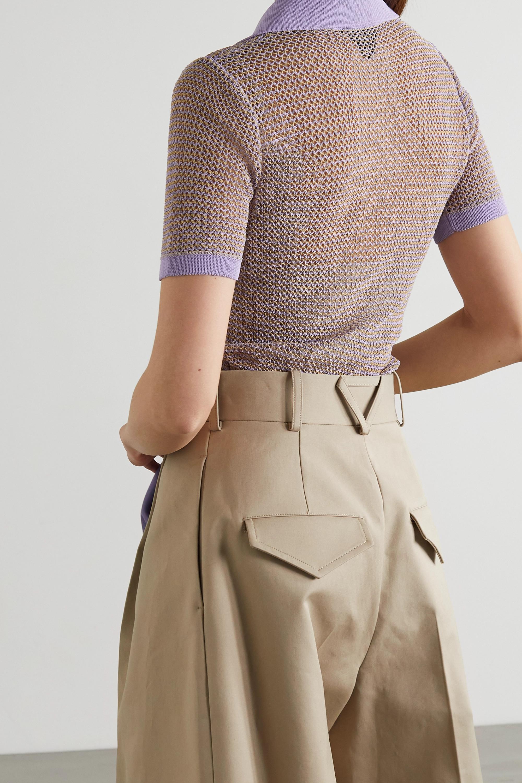 Bottega Veneta Open-knit cotton-blend polo shirt