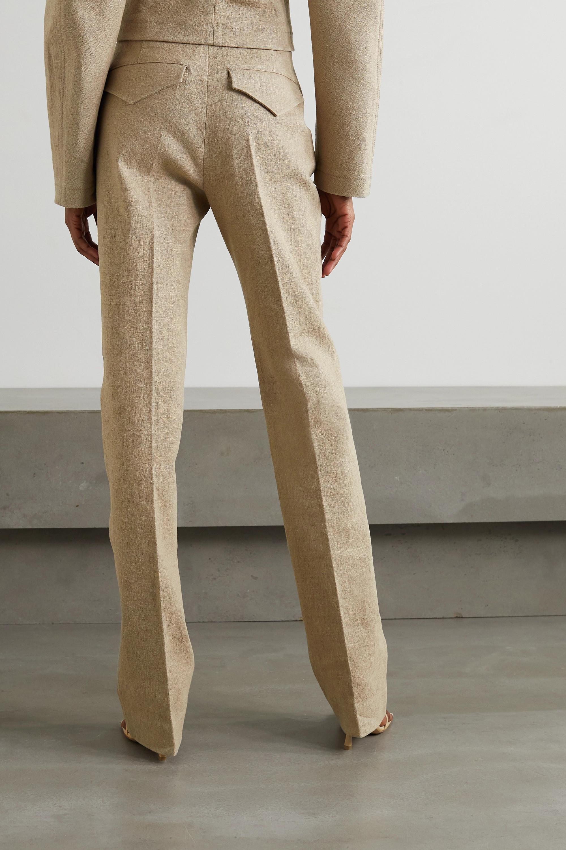 Bottega Veneta Pantalon droit en toile de lin mélangé