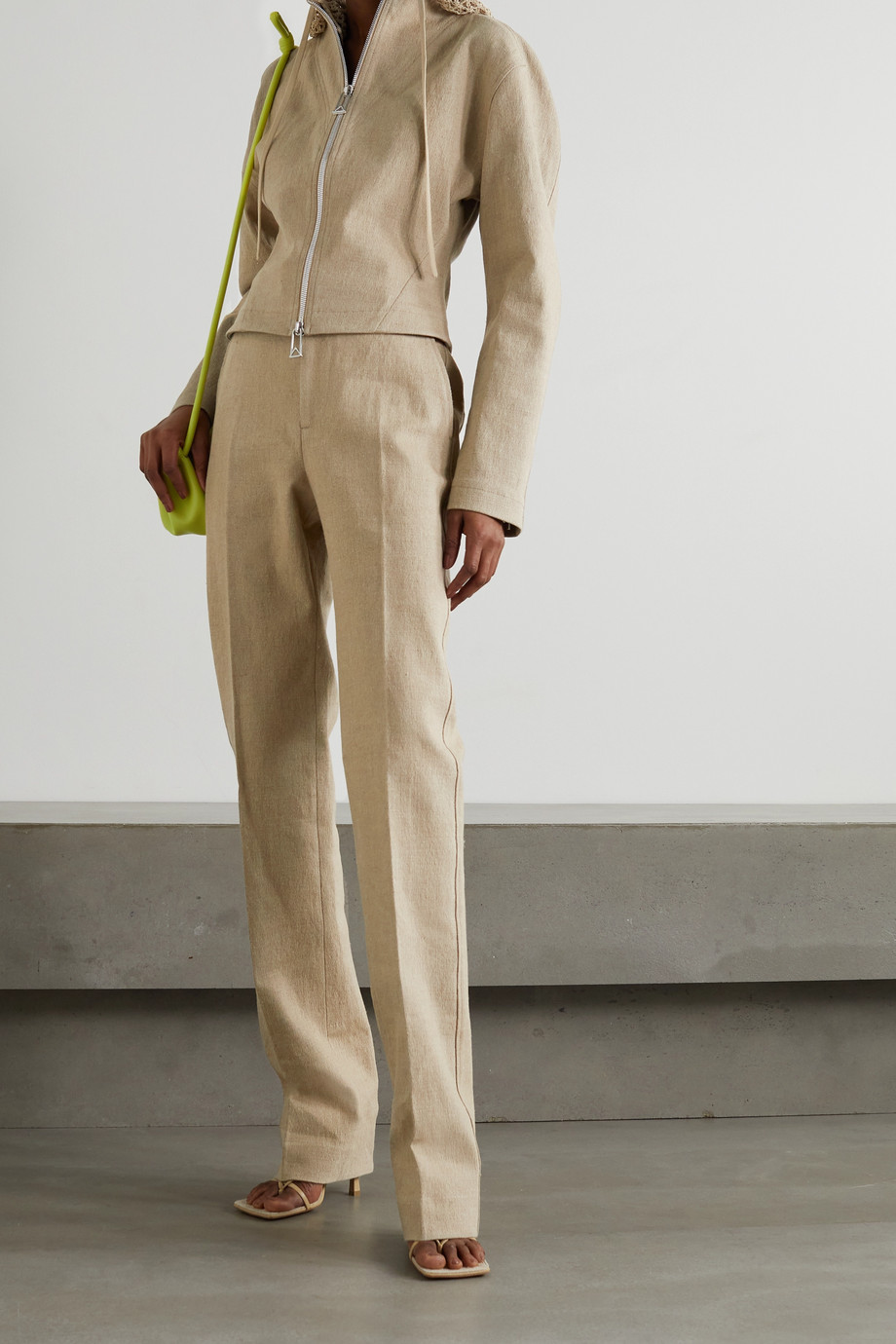 Bottega Veneta Linen-blend canvas straight-leg pants
