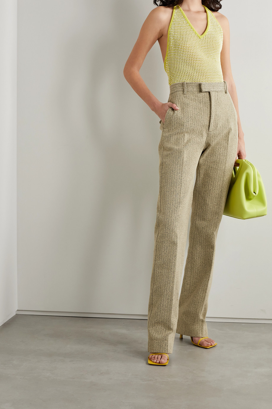 Bottega Veneta Herringbone bouclé straight-leg pants