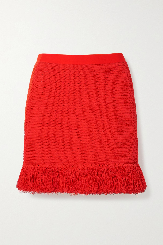 Bottega Veneta Mini-jupe en coton mélangé à mailles ajourées et à franges