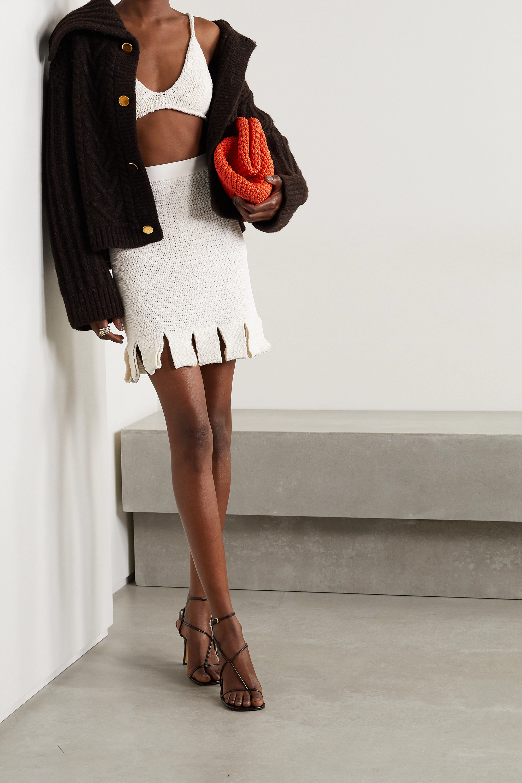 Bottega Veneta Mini-jupe en coton mélangé crocheté