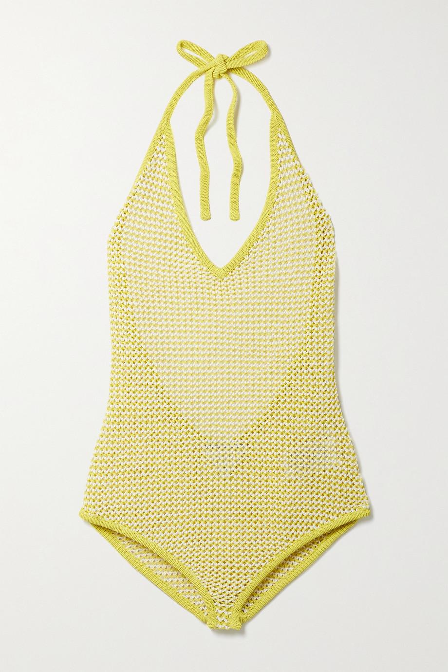 Bottega Veneta Crocheted cotton-blend halterneck bodysuit