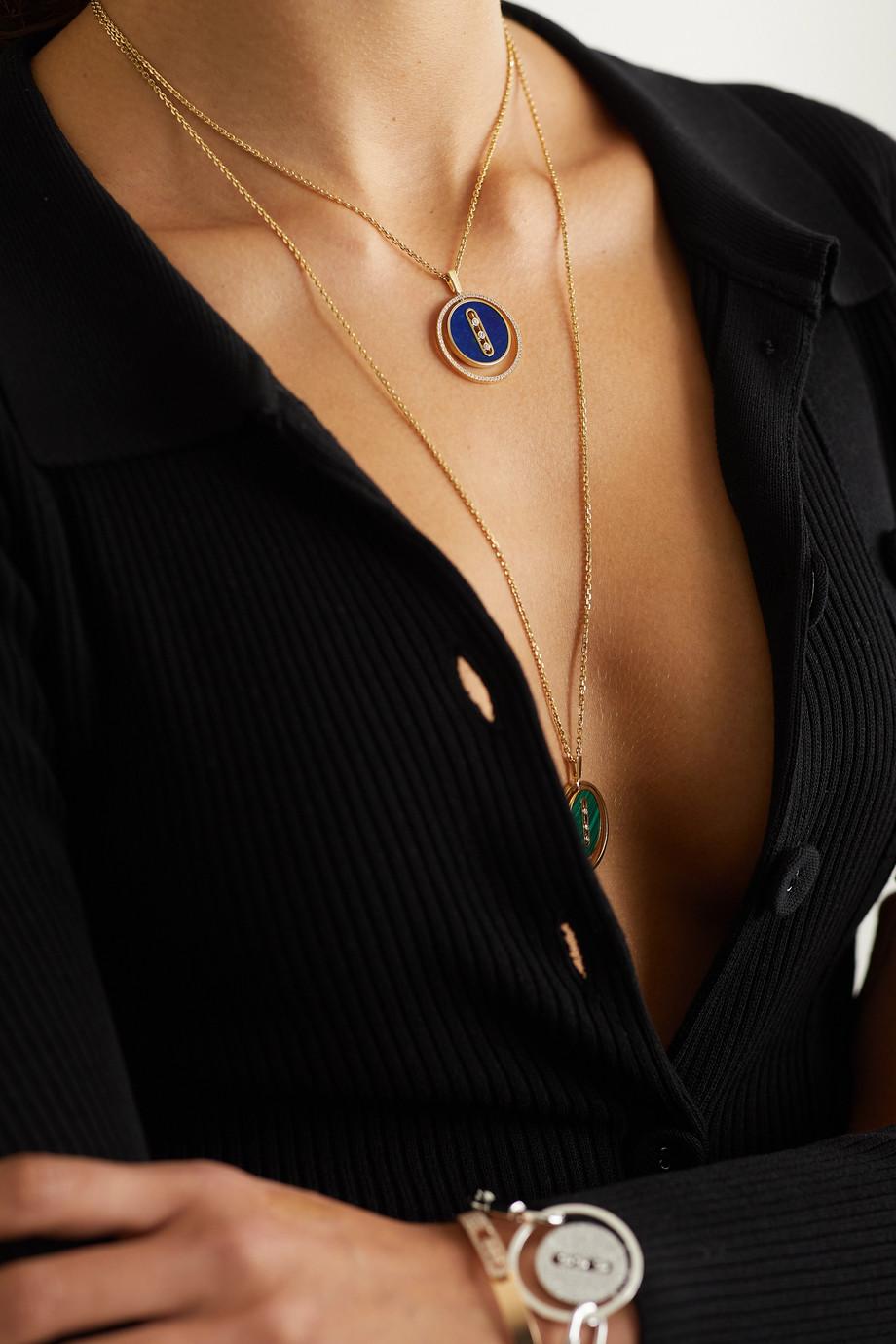 Messika Lucky Move 18-karat gold, lapis lazuli and diamond necklace