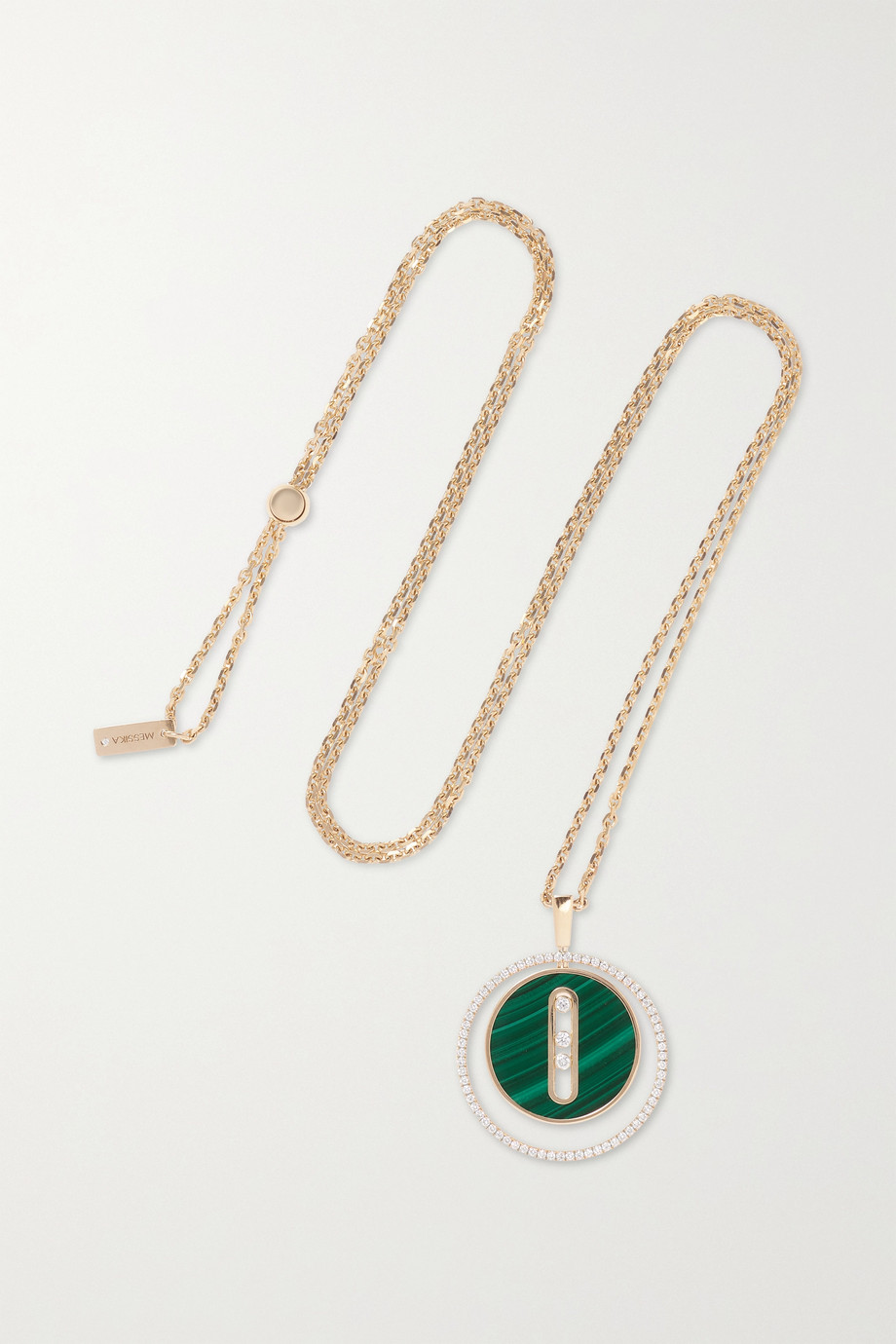 Messika Collier en or 18 carats, malachite et diamants Lucky Move