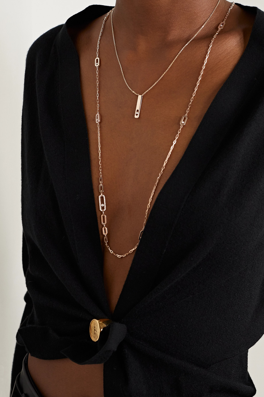 Messika Move Uno 18-karat rose gold diamond necklace