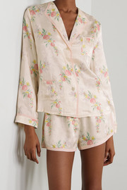 Morgan Lane Mimi Martine floral-print satin-jacquard pajama set